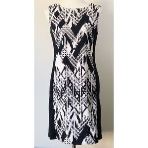 Connected Apparel Black and White Geometric Dress